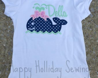 Monogrammed Whale Applique Shirt