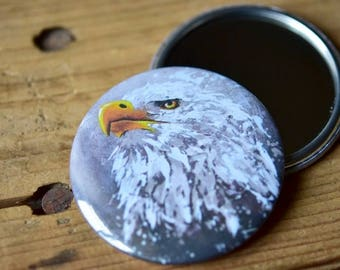 Pocket mirror with a bald eagle