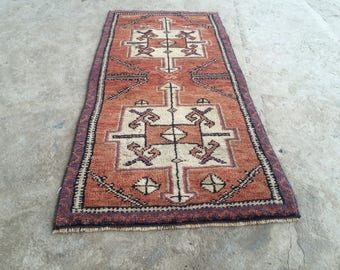 Turkish rug small rug pastel rug old rug anatolian rug hand made rug 3.5ft_1.6ft