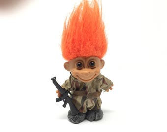 Vintage Camoflage Troll with Orange Hair