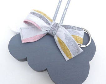Key fob/pendant of grey feather butterfly handle bag