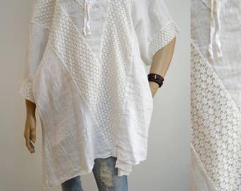 40 42 44 46 / 12 14 16 18 Italian Boutique Linen Lagenlook Tunic Dress Casual Quirky