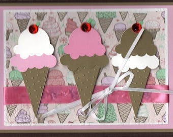 Chocolate & Strawberry Cones trio 5x7 Horizontal Handmade card