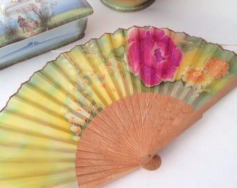 Silk fan, Hand painted fan, Hand made fan, Bridal fan, Wedding fan, Gift fan, Wooden fan OOAK one of a kind