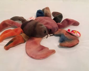 TY Beanie Baby - CLAUDE the Crab - Pristine with Mint Tags - RETIRED
