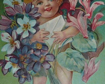 ON SALE till 6/30 Little Cherub Carrying Violets, Cyclamen and a Birthday Card Antique Birthday Postcard