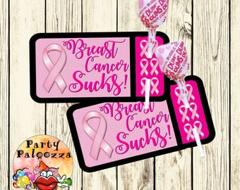 Printable Breast Cancer Lollipop Tag