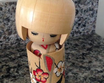 Wooden Japanese Kokeshi Girl Doll with Bow