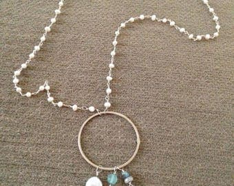 Faux Pearl Silver Tone Chain Necklace with Large Ring and Charms