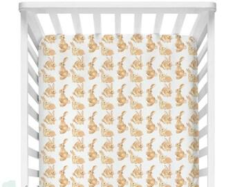 Watercolor Bunny Gender Neutral Baby Crib Fitted Sheet | Watercolor Bunny Baby Sheet | NAME Crib Sheet | Bunny Gender Neutral Baby Sheet