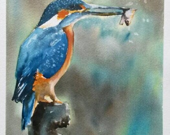 Original Watercolour painting Kingfisher with catch