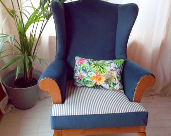 Birch & Alpe Wingback Chair, fully reupholstered inspired by Ralph Lauren