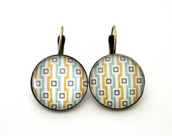 """Earrings cabochon Stud Earrings """"Turquoise and yellow squares"""" 20mm"""