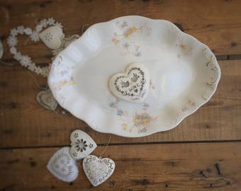 """WH Grindley Ironstone 15"""" Oval Platter, Forget Me Not Floral, Easter / Christmas/ Party Servingware, Housewarming Gift, Wedding Gift / Decor"""