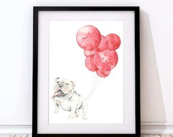 Bulldog Print - Bulldog Art - Bulldog Gift - Bulldog lover - Dog Lover Gift - Bulldog Present - Bulldog Portrait - Dog Wall Art - Dog print