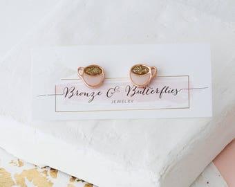Rose gold coffee earrings