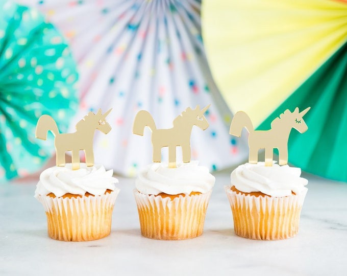 Unicorn Cupcake Topper, 8 Gold Acrylic Unicorn Cupcake Toppers, nep410 Reusable Unicorn Decor, Birthday Cupcake Decoration, Unicorn Party