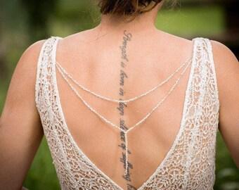 Bridal Back Necklace - Bridal Backdrop Necklace  - Back Necklace - Back Jewellery - Bridal Necklace - Body Necklace - Boho Wedding