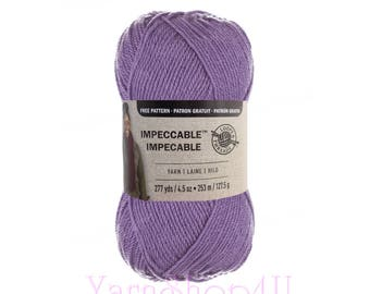 LAVENDER. Impeccable Yarn. Loops and Threads. a large 4.5oz Ball of light purple yarn. For hats, afghans, sweaters, scarves. 277yds