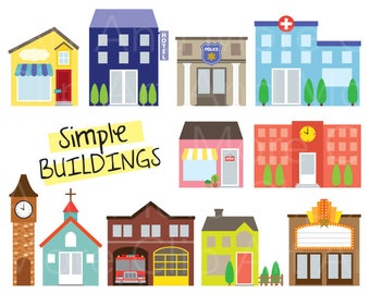 Building Clipart Fire Station Police Shop Store Clip Art Church Movie Theater