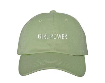 "GIRL POWER Dad Hat, Embroidered ""Girl Power"" Feminism Hat, Low Profile Feminist Girl Gang Baseball Cap Hat, Lime Green"