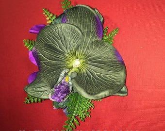 ORCHIDS AHULANI-Hawaiian hair clip,Orchids,hula flowers,pinup hair,tropical bride,island weddings,silk orchids hair,Purple,silk flower hair.