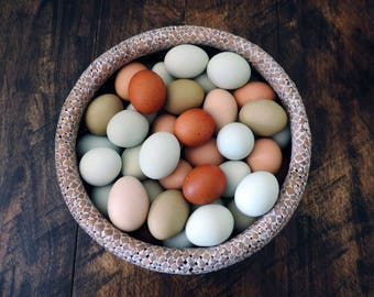 Hand Blow Free Range Chicken Eggs | Medium Mix - Green, Blue, Brown, Chocolate, White & Cream | Natural Rustic Farmhouse, Cottage Chic Décor