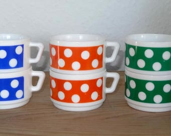 6 cups arcopal coffee / polka dots