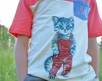 T-Shirt-Unique-Summer-Funny Design-Kitten In Pants-Character-Cotton