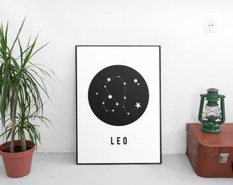 Printable Art,Zodiac, Birthday Gift, Leo Star Sign, Leo Zodiac, Zodiac Leo, Leo Constellation Print, Zodiac Print, Zodiac Art Print,Poster