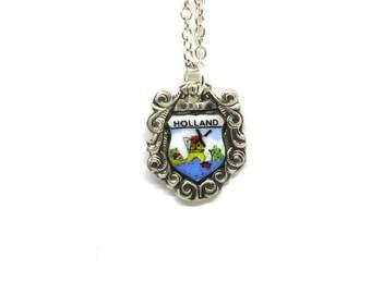 dutch necklace, holland necklace,  netherlands necklace, windmill necklace, vintage necklace
