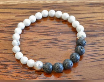 Genuine Howlite Gemstone Bracelet with Lava Beads