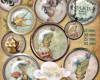 80%  off Graphics Sale Shabby Chic Marie Antoinette Digital Collage Sheet 12 mm, 20 mm, 25 mm, 1 inch, 30 mm Round Images for Jewelry Making