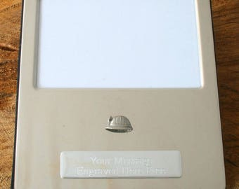 Miners Helmet Silver Personalised Photo Album FREE ENGRAVING Holds 100 6x4 Photos Miners Gift