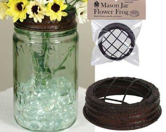 Mason Jar Flower Frog Metal Dome Lid Black and Rust Standard Size Wedding Bathroom Flower Arranging