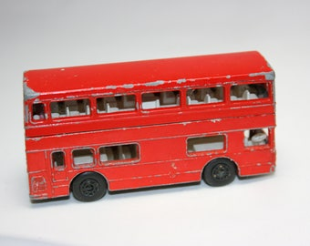 "Red Double Decker Bus Matchbox Superfast No. 17 ""The Londoner"" 1970s Toys Die Cast Cars London UK Anglophile Lesney Made in England"