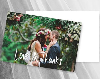 Wedding Thank You Photo Cards Printable Postcard Card Template LOVE AND THANKS