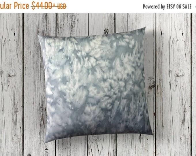 SALE Gray Throw Pillow Covers 18x18-Watercolor Silk Pillow-Zen Chic Decor-Bohemian Decor-Gift