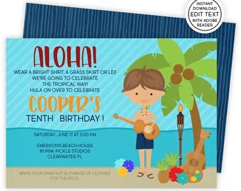 Luau Invitation, Hawaiian Invitations, Luau Birthday Invitation, Luau Party, Luau Party Invitations, Luau Invite, Luau Birthday   81