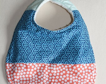 Baby bib blue + orange