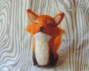Needle felted fox, wool fox, little red fox, handmade unique fox, woodland creature, fiber art, fox sculpture, miniature red fox, cute fox