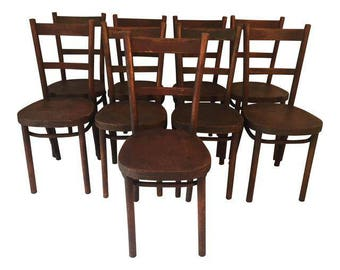 "Antique ""Thonet""  French ""Bistro"" Chairs Set of 9"
