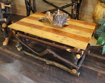 Rustic Coffee Table, Salvaged Wood Table, Living Room Table, Live Edge Table ,