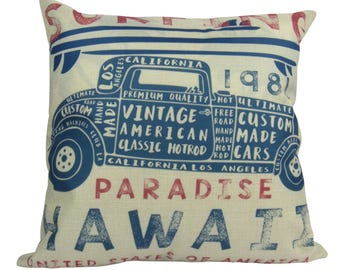 Surfing Paradise Hawaii Vintage Hotrod - Pillow Cover