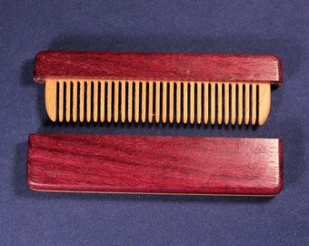 Wooden comb in a case made of amaranth wood for courting beard, a good gift for men, women.