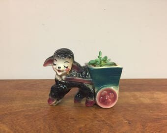 Black Sheep / Lamp Pulling Cart Ceramic Planter - Perfect Vintage Nursery Decor