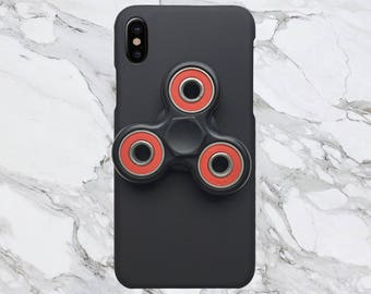 Black x Red Fidget Spinner Phone Case for iPhone X