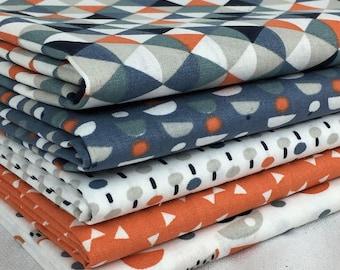 Set of 5 fabric patchwork trendy Orange / Blue 50 x 50 cm