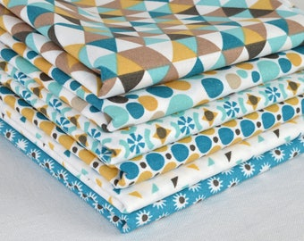 Set of 6 coupons fabric patchwork Turquoise / mustard 50 x 50 cm