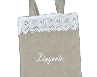 """Bag with handles 15X25cm FANNY embroidery """"LINGERIE"""""""